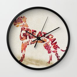 Great Dane Dog Typography Art / Watercolor Painting Wall Clock