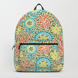 Birds and Flowers Mosaic - Green, orange, yellow Backpack