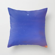 Star Sirius over the mountains at sunset. Constelation Canis Mayor Throw Pillow