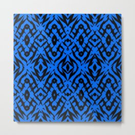 Blue tribal shapes pattern Metal Print