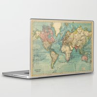 vintage map Laptop & iPad Skins featuring Vintage map by Hipster's Wonderland
