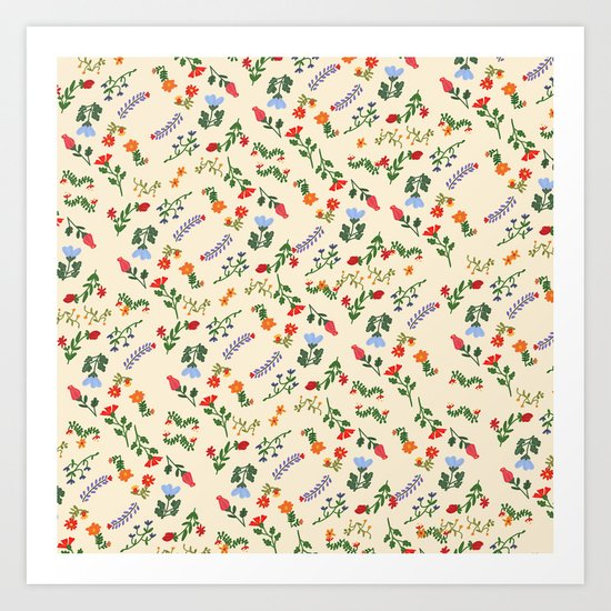 Bright Vintage Flower Pattern Art Print