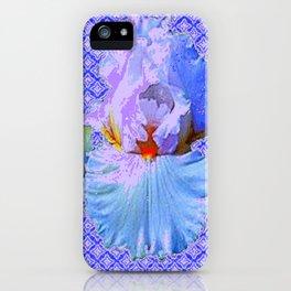 BLUISH-WHITE PASTEL IRIS FLOWERS OPTICAL ART PATTERNS iPhone Case