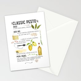 Illustrated Pesto Recipe  Stationery Cards