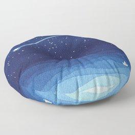 Falling star, shooting star, sailboat ocean waves blue sea Floor Pillow