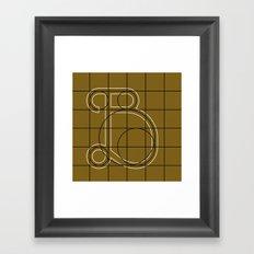Mocha Script B Grid Framed Art Print
