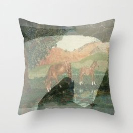"""Horses"" Throw Pillow"