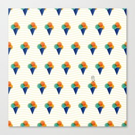 044 Ice cream pattern on the beach Canvas Print