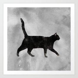 Black Watercolor cat Art Print