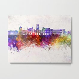 Saint Etienne skyline in watercolor background Metal Print