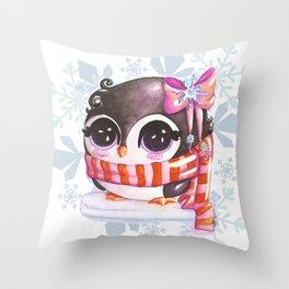 Snowy penguin  Throw Pillow