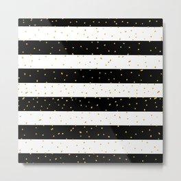 Black white gold faux glitter stripes polka dots  Metal Print
