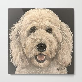 Golden Doodle Art, Cute Dog Art Metal Print