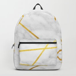 White Carrara marble with Gold Lines Backpack