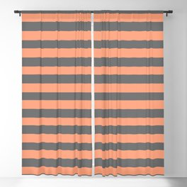 Light Salmon and Dim Grey Colored Striped Pattern Blackout Curtain