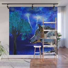WOLF AND LIGHTENING Wall Mural