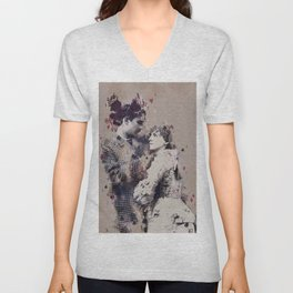 Vintage Lovely Couple Abstract Poker Papers Art Painting. Unisex V-Neck