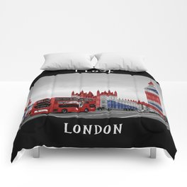 Red London Bus and Big Ben Comforters