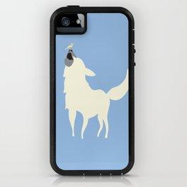 Little White Dog with Bird, Blue iPhone Case