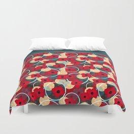 Red flowers , retro Duvet Cover