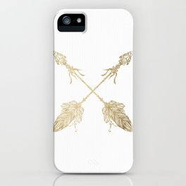 Tribal Arrows Gold on White iPhone Case
