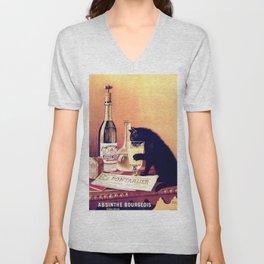 Absinthe Bougeois Poster - Black Cat Portalier Artwork for Wall Art, Prints, Posters, Tshirts, Men, Women, Kids Unisex V-Neck