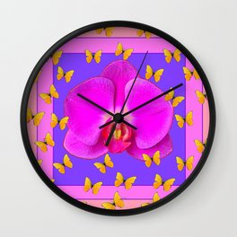 Yellow Butterflies Purple  Moth Orchid Coral Art Wall Clock