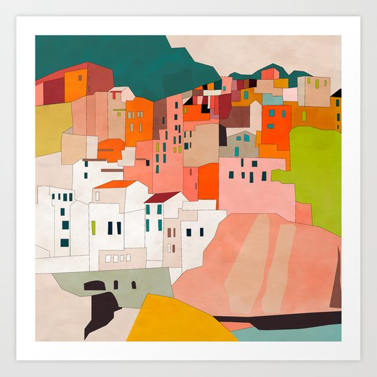 italy coast houses minimal abstract painting by anarutbre