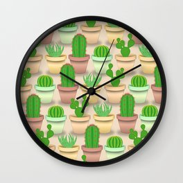 Cactus types pattern in colorful pots with peach background Wall Clock