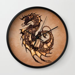 """Tsunami"" by Amber Marine ~ Sea Dragon (Amber Gem Version) ~ Graphite Illustration, (Copyright 2005) Wall Clock"