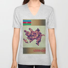 Azerbaijan Map with Flag Unisex V-Neck