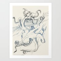 kraken Art Prints featuring Kraken by Kyle Naylor