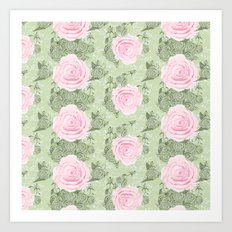 Hand-drawn vines and roses and pink watercolor roses Art Print