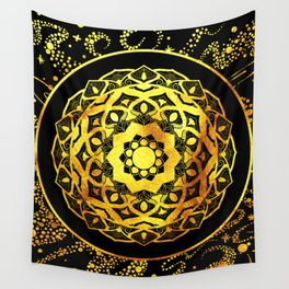 SPACE MANDALA BLACK AND GOLD Wall Tapestry