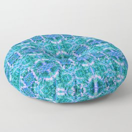 Psychedelic Kaleidoscope Sea Foam Pattern Floor Pillow