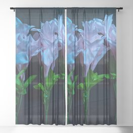 pink and blue flowers on black Sheer Curtain