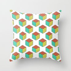 Rubiks Cube Pattern Throw Pillow