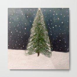 Christmas Snow (encaustic art) Metal Print