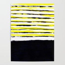 Striped black yellow Poster