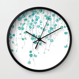 string of hearts watercolor Wall Clock