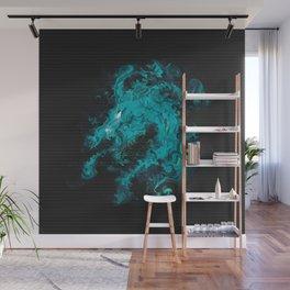 Blue dragon dragon in black Wall Mural