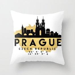 PRAGUE CZECH REPUBLIC SILHOUETTE SKYLINE MAP ART Throw Pillow
