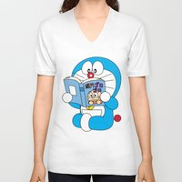 comic book V-neck T-shirts featuring Doraemon Reading Comic Book by Timeless-Id