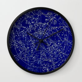 Constellation Stars blue space map on gold marble Wall Clock