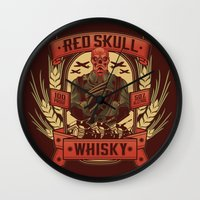 whisky Wall Clocks featuring Red Whisky by Corey Courts
