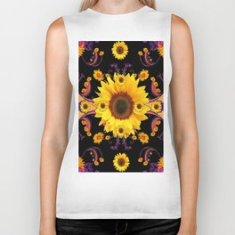 Opulent Black Sunflower Garden Fantasy Art Design. Biker Tank