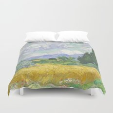 A Wheatfield with Cypresses by Vincent van Gogh Duvet Cover