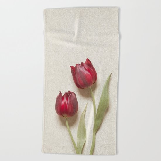 Two Red Tulips II Beach Towel