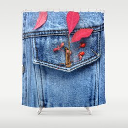 Jeans jacket with red leaves Shower Curtain