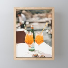Italian Aperol Spritz for two | Spritzen in the Italian Riviera, cocktail photography travel print Framed Mini Art Print